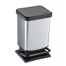 20 Litre Plastic Pedal Operated Bin with Metal Look