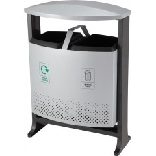 Achilles Hooded Two Compartment Steel Outdoor Bin