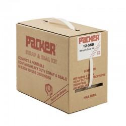 Polypropylene Strap & Seal Kit, 600m White Strapping and 250 Metal Seals 12/SSK