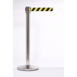 Queue Master 550 Polished Stainless Steel Retractable Barrier Post With 3.4m Belt