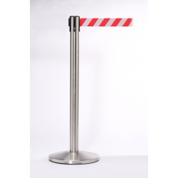 Queue Master 550 Satin Stainless Steel Retractable Barrier Post With 3.4m Belt