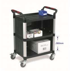 3 Shelf Plastic Utility Tray Trolley With Enclosed Back & 2 Sides