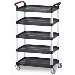 5 Shelf Plastic Utility Tray Trolley